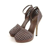 Gucci Kyligh Leather Woven 310341 Pink Tan Platforms