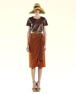 Gucci Burnt Amber Crocodile Skirt Brown