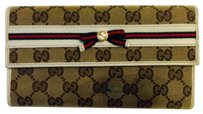 Gucci Authentic GUCCI Ribbon GG Canvas Long Wallet