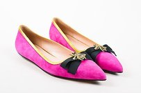 Gucci Magenta Gold Suede Pink Flats
