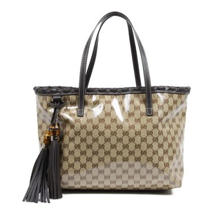 Gucci Bamboo Tassels Weave Leather Tote in Beige