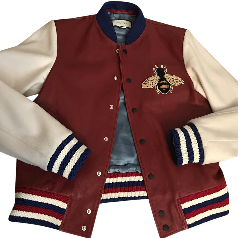 gucci jacket mens. gucci bomber blind love brand new mens red and white leather jacket
