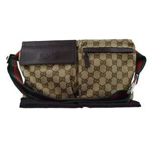 Gucci Canvas Leather Brown Bum Cross Body Bag