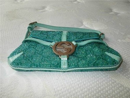 Gucci Coach Dooney Louis Vuitton Rare Vintage Tote in Turquoise Blue