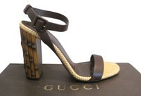 Gucci Dahlia Bamboo Heel Brown Sandals