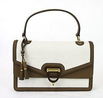 Gucci Derby Canvas Top Handle Satchel in White
