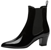 Gucci Helene Patent Chelsea Ankle Stretch Heel Black Boots