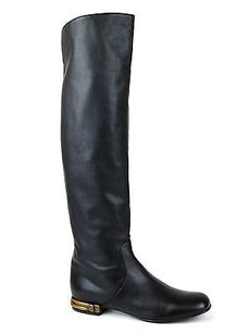 Gucci Knee Bamboo 338698 Black Boots