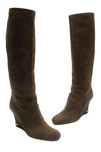 Gucci Suede Knee High Wedge Size 11us Brown Boots
