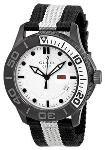 Gucci G-Timeless XL White Dial Black and White Nylon Men's Watch