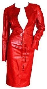 Gucci Gorgeous Tom Ford For Gucci FW 1997 Two-Tone Red Leather Moto Jacket & Skirt!