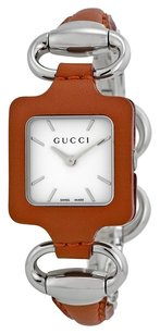 Gucci GUCCI 1921 White Dial Camel Leather and Stainless Steel Bangle