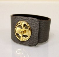 Gucci Gucci 1973 Leather Bracelet Bangle Wgold G18gray253514
