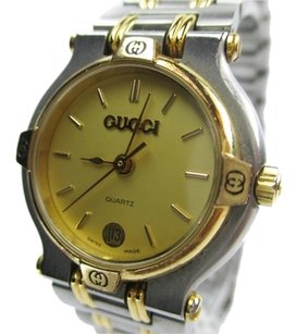 Gucci GUCCI 9000L Gold Dial, Date Stainless Steel Women's Watch