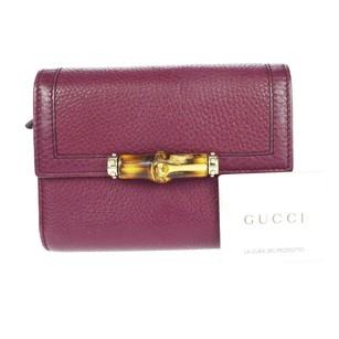 Gucci GUCCI Bamboo Bifold Leather Wallet Purse