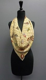 Gucci Gucci Beige Brown Rust And Yellow Rectangular Sleek Scarf One Silk Sma7112