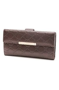 Gucci Gucci Brown Guccissima Leather Metal Bar Continental Wallet