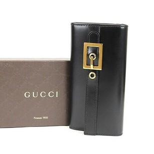 Gucci Gucci Buckle Leather Continental Walletblack 324233 1000