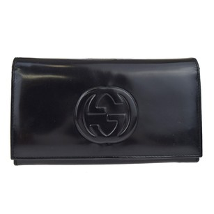 Gucci GUCCI GG Logos Long Bifold Leather Black Wallet Purse