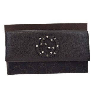 Gucci GUCCI GG Pattern Studded Long Bifold Canvas Leather Wallet Purse