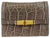 Gucci GUCCI GG Pattern Trifold Embossing Leather Wallet Purse