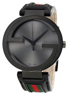 Gucci GUCCI Interlocking G Black Dial Black Leather Men's Watch GCYA133206