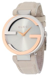 Gucci GUCCI Interlocking Large Silver Dial White Leather Ladies Watch