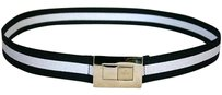 Gucci Gucci Ladies Black white Web Belt 95/38 Wgold Buckle 253488