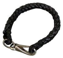 Gucci Gucci Leather Woven Braided Bracelet Unisex Black 246147