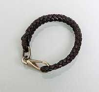 Gucci Gucci Leather Woven Braided Bracelet Unisex Dark Brown 246147