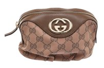 Gucci Gucci Pink Monogram Brown Leather Trim GG Small Cosmetic Pouch