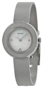 Gucci GUCCI U-Play Diamond Mother of Pearl Dial Steel Mesh Ladies Watch