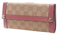Gucci Gucci Beigeivory Gg Canvas Pink Leather Long Wallet