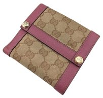 Gucci Gucci Beige Signature Pink Leather Trim Trifold Wallet
