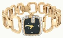 Gucci Womens Diamond Gucci Watch Rose Gold Pvd Stainless Steel Ya125512 Black Dial