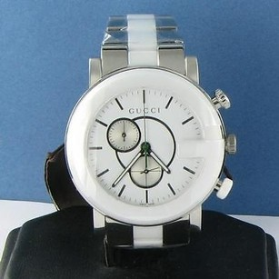 Gucci Gucci Ya101345 G Timeless Chronograph Steel Ceramic White Dial Watch