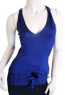 Gucci Blouse Navy Blue Halter Top