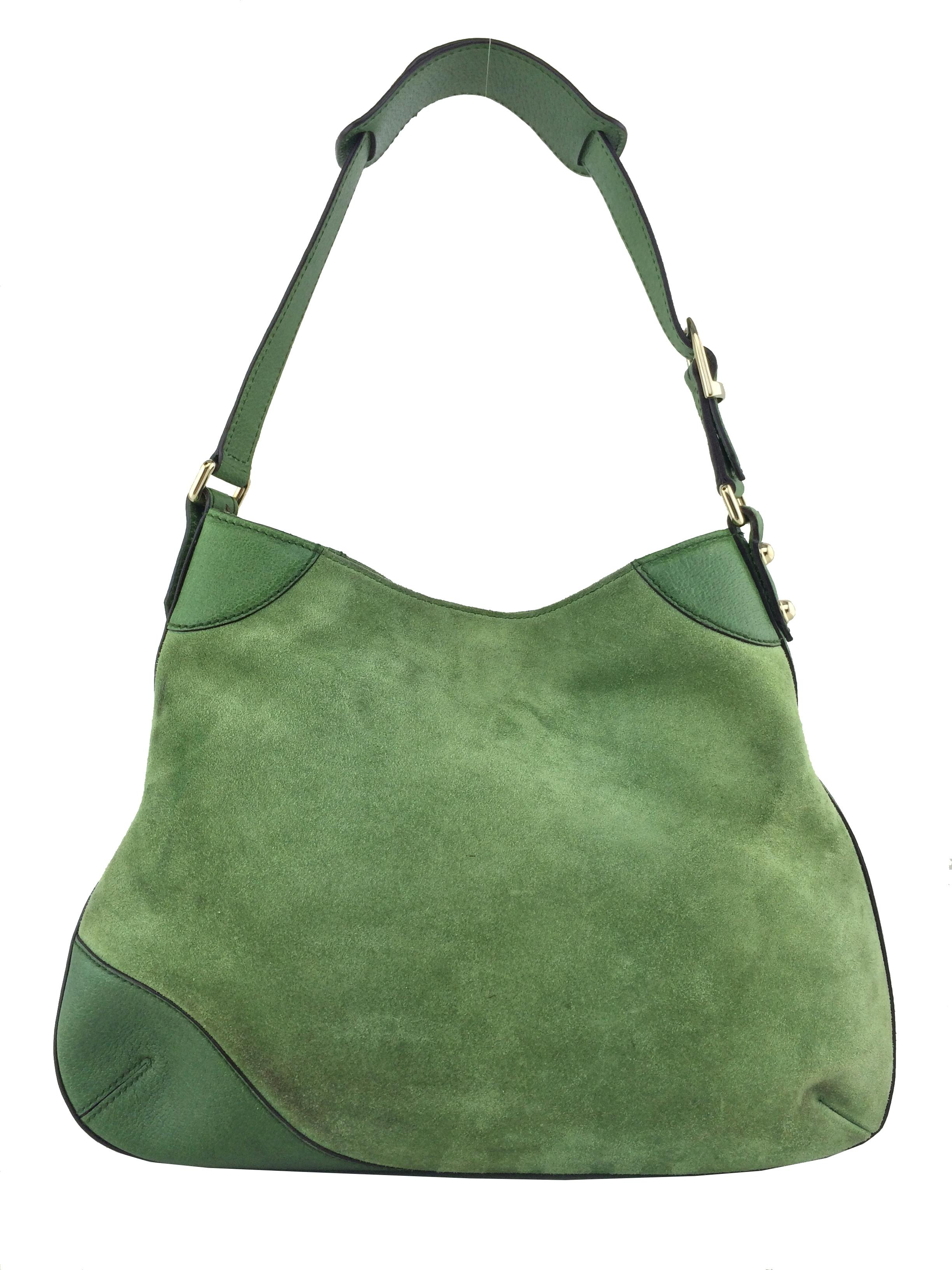 Gucci Green Suede Hobo With Gold Hardware r7FhbVX