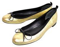 Gucci Leather Bow Ballet Gold Flats