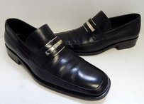 Gucci D Black Leather Slip On Dress Loafers Italy