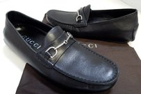 Gucci B Leather Silver Black Flats