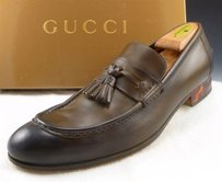 Gucci Mens Shoes Leather Tassel Loafers 212417 Olive Brown