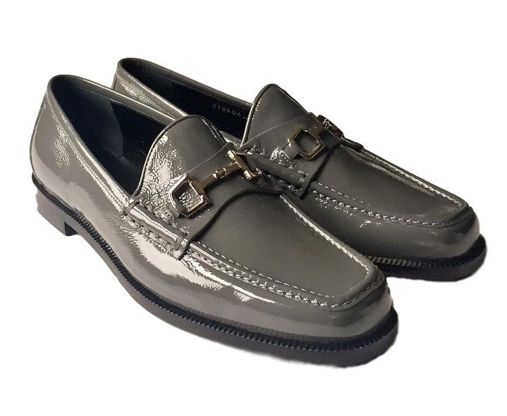 Gucci Melange Platinum Grey/Silver Women's Loafer with Buckle Patent  Leather Flats