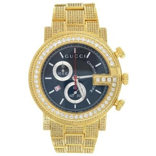 Gucci Mens Custom Gucci Watch Iced Out Genuine Diamonds Ct Ya101334 Gold Tone