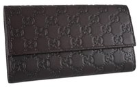 Gucci New Gucci 257303 Chocolate Brown Leather GG Guccissima Wallet W/Coin Pocket