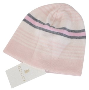 Gucci New Gucci Baby 283133 Pink Stripe Reversible GG Beanie Hat Cap Small 0-6 MOS