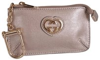 Gucci New Gucci Women's 338193 Light Pink Leather Zip Top GG Key Chain Coin Purse