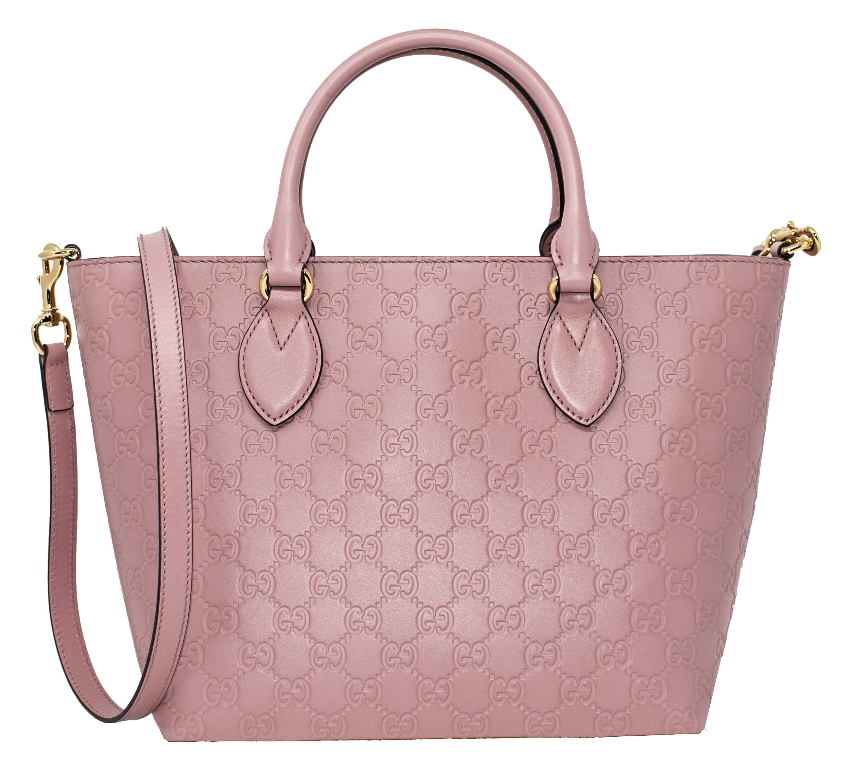 Gucci New Gucci Signature Candy Pink Top Handle Tote Bag sX67yh3