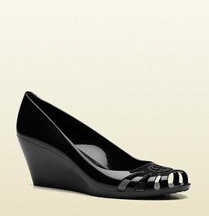 Gucci Jelly Wedge Sandal 257371 Black Wedges