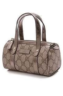Gucci Gg Coated Canvas Mini Joy Boston Satchel in Beige/ebony